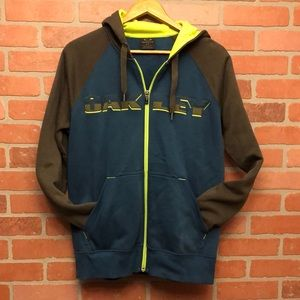 OAKLEY zip up hoodie embroidered spell out size S